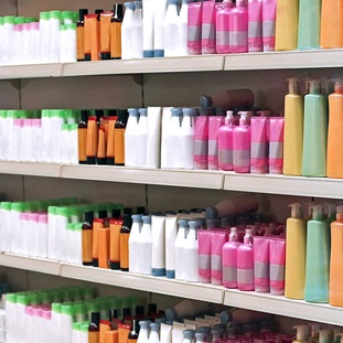 shelves of colorful personal care products